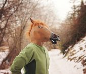 stock photo of nostril  - a woman in a horse head mask - JPG