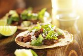 stock photo of tacos  - mexican tacos with beef and corn tortilla - JPG