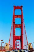 Golden Gate Bridge traffic in San Francisco California USA