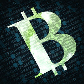 stock photo of bit coin  - Bit coin the virtual currency symbol illustration with numbers and letters on background - JPG