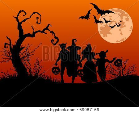 Halloween background with silhouettes of children trick or treating in Halloween costume. Raster ver poster