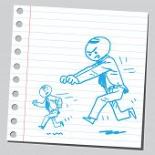 image of chase  - Big angry businessman chasing small one - JPG