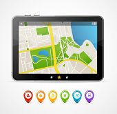 Vector tablet map navigation set. infographics