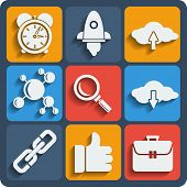 Set Of 9 Seo Web And Mobile Icons. Vector.