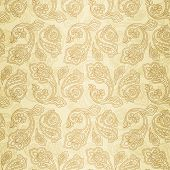 Turkish cucumber seamless pattern gold style