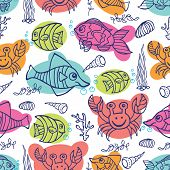 Funny Sea Life.Colored Doodle seamless pattern