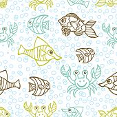 Funny crab and Fish.Doodle seamless pattern,bubble background