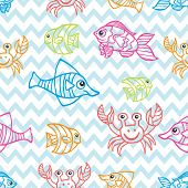 Funny  Fish.Colored Doodle seamless pattern in zigzag background