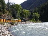 Train along river