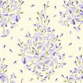 Abstract Floral Pattern Seamless Texture, Watercolor.