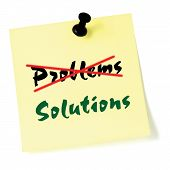 Crossing Out Problems, Writing Solutions Sticky Note, Yellow Isolated Sticker, Green Text