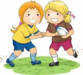 Illustration of a Pair of Girls Playing Rugby