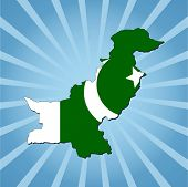 foto of pakistani flag  - Pakistan map flag on blue sunburst illustration - JPG