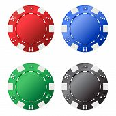 Four Gambling Chips (red, Blue, Green, Black) For Your Designs Isolated On White Background. Vector