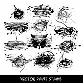 Set of liquid ink stains, vector