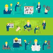 foto of mechanical engineering  - Civil professional mechanical science engineering concept flat business icons set of manufacturing management worker for line banners design vector illustration - JPG