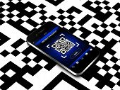 Mobile Phone With Qr Code Screen