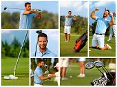 Image mosaic of golfing with handsome young golfer on golf course.
