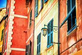 Beautiful colorful facade of Italian house, Portofino, Genoa, small fishing village, traditional Eur