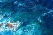 Beautiful sea background, abstract natural backdrop, clean transparent blue water, good summer weath