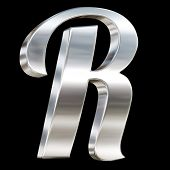 Letter R from chrome solid alphabet isolated on black