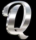 Letter Q from chrome solid alphabet isolated on black