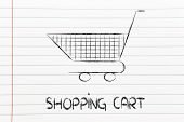 Shopping Cart, Symbol Of Marketing Techniques And Strategy