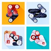 Collection of Vector Flat Infographic Layouts for Business made of Geometric Shapes and Arrows