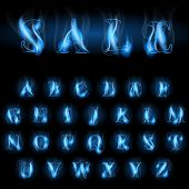 sale blue fire latin alphabet letters