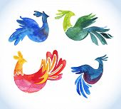 doodle vector watercolor bird set.Cute illustrations