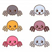 Set of kawaii spiders with different facial expressions.