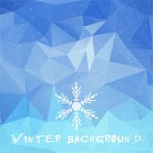 Winter triangle pattern in blue colors. Vector background for web and mobile design. Corporate style and identity version.  Wallpapers, website and banners design. Snowflake symbol.