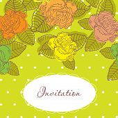 Vector invitation floral design, with hand drawn roses on green background