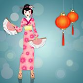Geisha With Kimono And Chinese Lanterns