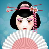 stock photo of geisha  - An illustration of a Geisha face with fan - JPG