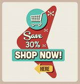 Retro Sale & Discount Sign.Vector