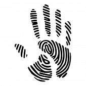 black handprint with fingerprint pattern