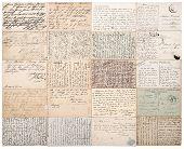 Antique Postcards. Vintage Papers Background