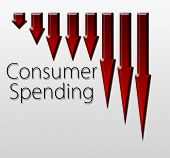 stock photo of macroeconomics  - Graph illustration showing Consumer Spending decline - JPG