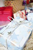 Closeup of Christmas gifts wrapped with bow