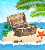 Treasure Chest On Sandy Island