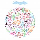 Funny Sea Life.Colored outline Doodle set in cirrcle