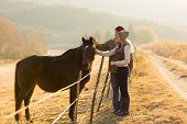 stock photo of beautiful horses  - beautiful couple petting horse in the ranch - JPG