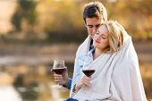 loving young couple enjoying spend time together in autumn