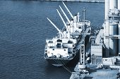 modern floating crane at sea port