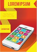 Modern smart-phone with yellow ribbons vector illustration