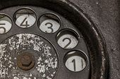 stock photo of rotary dial telephone  - Old black telephone - JPG