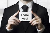 Businessman Holding Card Thank You