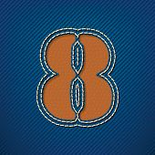 Number 8 made from leather on jeans background - vector illustration