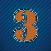 Number 3 made from leather on jeans background - vector illustration